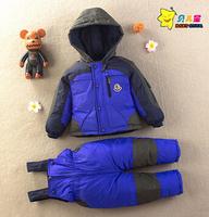 High quality New 2015 winter child down coat set children down jacket suit kids clothes sets coat + padded pants clothing set