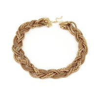 2014 New arrival Girl\\\'s Gold Twist braid chain jewelry Necklace punk For free shipping