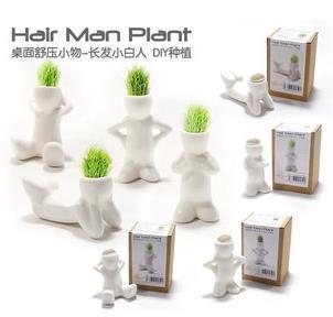 2014 new DIY mini garden Ceramic Doll 8 styles mini pot Ceramic white people Hair man plant Hair grass plant CX134(China (Mainland))