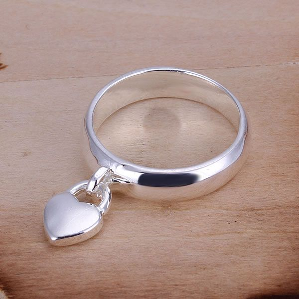 Free Shipping Wholesale Sterling 925 Silver Ring,Fashion 925 Silver Jewelry,Heart Lock Ring,Nickle Free,Antiallergic SMTR133(China (Mainland))