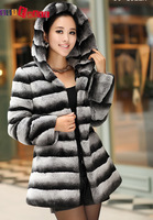 2014 New free shipping women real natural rex rabbit hoodie fur outerwear genuine fur coat chinchilla color black and white