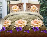 purple pink green brown flowers Violet rose Cotton queen size Duvet / Quilt Cover Bedding sets sheet pillowcase