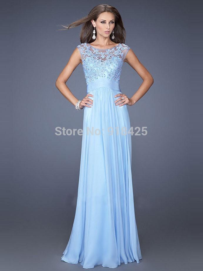 light cyan lace chiffon bridesmaid dress with sleeves