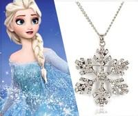 Frozen Elsa Princess Snowflake Rhinestone Paved Pendant Necklace Fashion Children Cartoon Jewelry