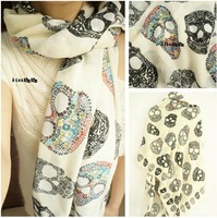 2014 Hot Sale Za Brand New Trf Elegant Acrylic Vintage Multicolor Skulls Print Long Cape Scarf Shawls Wraps for Women & Men