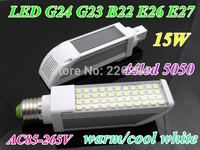 Energy saving LED PL down light G23 G24 B22 E26 E27 led bulb 15W smd 5050 44leds white /warm white 85-265V indoor lamp RoHS CE