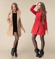 2014 Autumn &winter clothes new European and American Slim woolen coat women's wool coat woolen coat long section with waistband