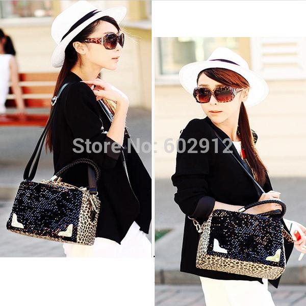 New Fashion Animal Print Women Lady Sequins Paillette Shoulder Bag Leopard Handbag Tote Bolsas Femininas Bolsos Mujer(China (Mainland))