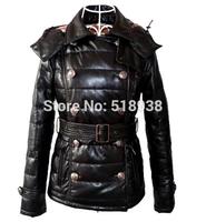 New 2014 winter Genuine leather white duck down coat women labmskin double breasted jacket hood sheepskin puffer outerwear xxl