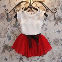 5set Children girl's 2014 summer Sleeveless white top+short green&rose skirt  two-piece/set qz542