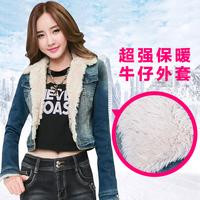 plus size velvet denim outerwear women's autumn and winter long-sleeve wadded jacket design short cotton-padded jacket coat