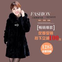For 11.11 Free shipping! 2014 shealing rex rabbit fur with fox fur collar hooded medium-long black overcoat