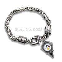 Free Shipping Zinc Alloy Single Side Pittsburgh Steelers Pendant Bracelet Bangle