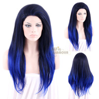 Long Straight Heat Resistant Synthetic Lace Front Wig Ombre Black Mixed Dark Blue Color #Color & Style# As the Picture Show