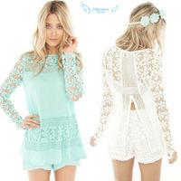 1PC Womens Chiffon Lace Crochet Long Sleeve Casual Shirt Blouse Tops