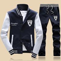 Men's clothing 2014 male baseball uniform teenage  outerwear casual sports set sport suit men lazer sport