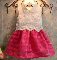 5pcs Children girl's 2014 Sleeveless Patchwork princess girl turn-down collar dress qz543