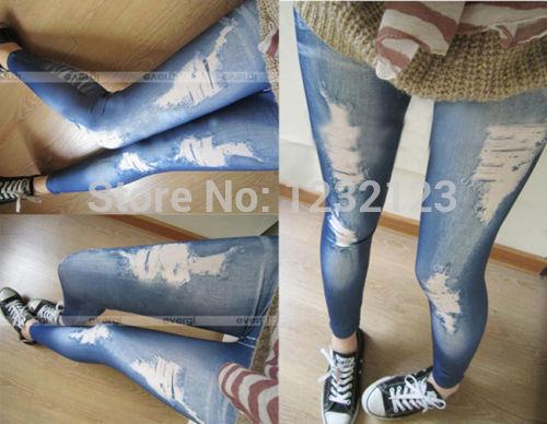 new fashion 2014 hot Korean Style Women Girls Slim Pencil Pants Hole Jean Legging Render Pants free shipping(China (Mainland))
