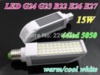 G23 G24 E27 E26 B22 LED Corn Bulb SMD 5050 LED Horizon Down Light AC 85V-265V 15W home office LED lamps WW/CW