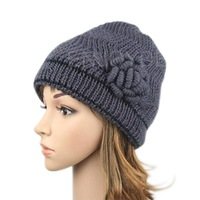2014 New arrival Women Ladies Winter Thick warmer Beanie Knit Crochet Hat Cap Button For free shipping