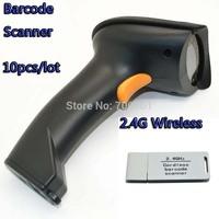10pcs 2.4G 50m wireless Handheld Visible Laser Barcode scanner Bar Code Reader protable 2.4g high speed support Windows WinCE