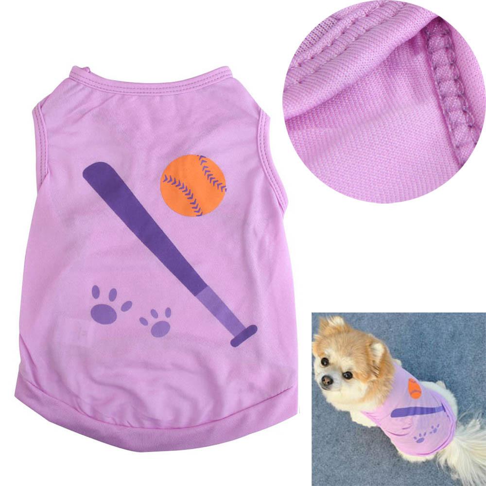 Fashion Pet Dog Puppy Clothes Vest Cute Baseball Print Dog T-shirt Clothes Dog Apparel Purple E#CH(China (Mainland))