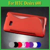 1X Soft TPU Gel S line Skin Cover Case For HTC Desire 600 Dual Sim