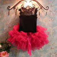5set Children girl's 2014 summer Sleeveless black top+short TUTU rose skirt  two-piece/set tz424