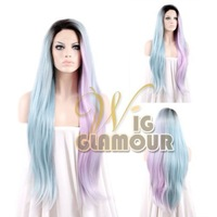Long Straight Heat Resistant Synthetic Lace Front Wig Black Roots with Blue Pink Mixed Color #Color & Style# As the Picture Show