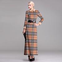 women new  british vintage style woolen thicking plaid dress plus size xl xxl xxxl formal women cashmere maxi long dress