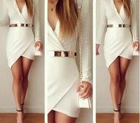 E-Unqiue New 2014 Autumn Winter Plus Size Long-Sleeve Sexy Mini Short Dress White Colorant Match One-Piece Dress No Belt  WWB51