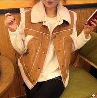 Winter 2014 new suede vest female vest female lambs wool coat Korean version plus thick warm velvet vest