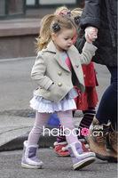 Retail cute wool baby coat hooded outerwear harper seven beckham same style winter overcoat