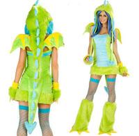 2014 New Themed Halloween Cosplay Costumes kit Green Plush Dinosaur Lizard carnival Costume Adult Halloween Tutus with hat