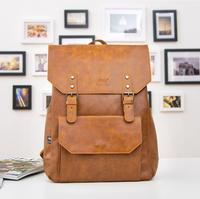 New 2014 Fashion Men's Backpack Vintage Pu Leather Backpack Kid School Bag Travel Bag Large Capacity Mochilas Men Bag 30*11*42CM