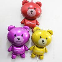 15pcs/lot 54*90cm cute bear foil ballons three colors cartoon bear mylar Baloes for children party decoration Aluminum balloon