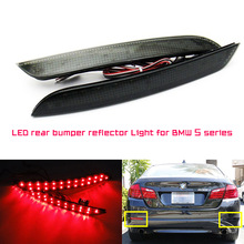 Black Smoked LED Rear Bumper Reflector Replacement Light For 2011-up BMW F10 5 Series 528i 535i 550i (Regular Bumper Trim Only)(China (Mainland))