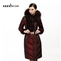 2014 RoyalCat Natral Fur Hooded Down Parkas Women Slim White Duck Filler Down Parkas Winter Warm Slim Long  Down Jacket