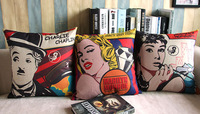 Linen Cotton Chaplin /Marilyn Monroe/Audrey Hepburn Cushion Cover /Pillow Cover/Decorative Sofa Pillow/Pillow Sham free shipping