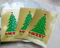 500pcs 9.5x18cm 9.5x15+3cm Merry Christmas Self Adhesive Bag Cookie Food Bag Packaging Plastic OPP Bag Jewelry Gift Poly Bag