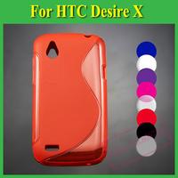 1X Soft TPU Gel S line Skin Cover Case For HTC Desire X T328E / Desire V T328W