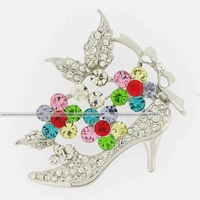New arrive hot Silver metal high-heeled shoe brooch multicolor rhinestone clear crystal pin fashion jewelry flower