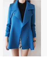 E-Unique New 2014 Autumn Winter Luxury Female High Quality Fashion Brief Elegant Medium-Long Slim Trench Outerwear WWB54