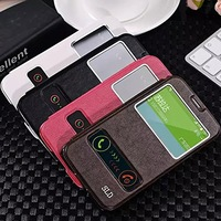 Elegant View Window Side Flip Leather Stand Case Cover For Samsung Galaxy S5 I9600