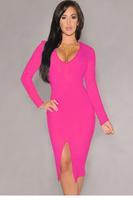 Rosy Long-sleeve Midi Dress LC6740