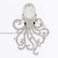 Bling Gorgeous fashion marine octopus clear crystal rhinestone white black quartz jewelry metal gold pin brooch vogue
