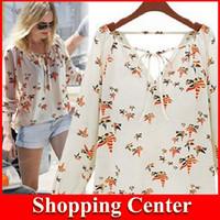 Wholesale 2014 Leaf Bird Printed Chiffon Blouse Long Sleeve Vintage Shirt Brand Elegant Floral Women Casual Tops Print Blouse