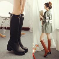 New Patchwork Free shipping Brand Knee High Boots For Women Hidden Heels Winter Women Flock Warm Long Boots