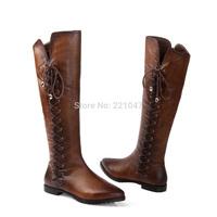 NEW Winter Keep warm High barrel Cross strap Wipe color The woman Knight boots Side zipper  brand women winter high boots boots