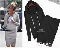 Europe wind long sleeve Lady's fleece suits Leisure sports hooded women's suits